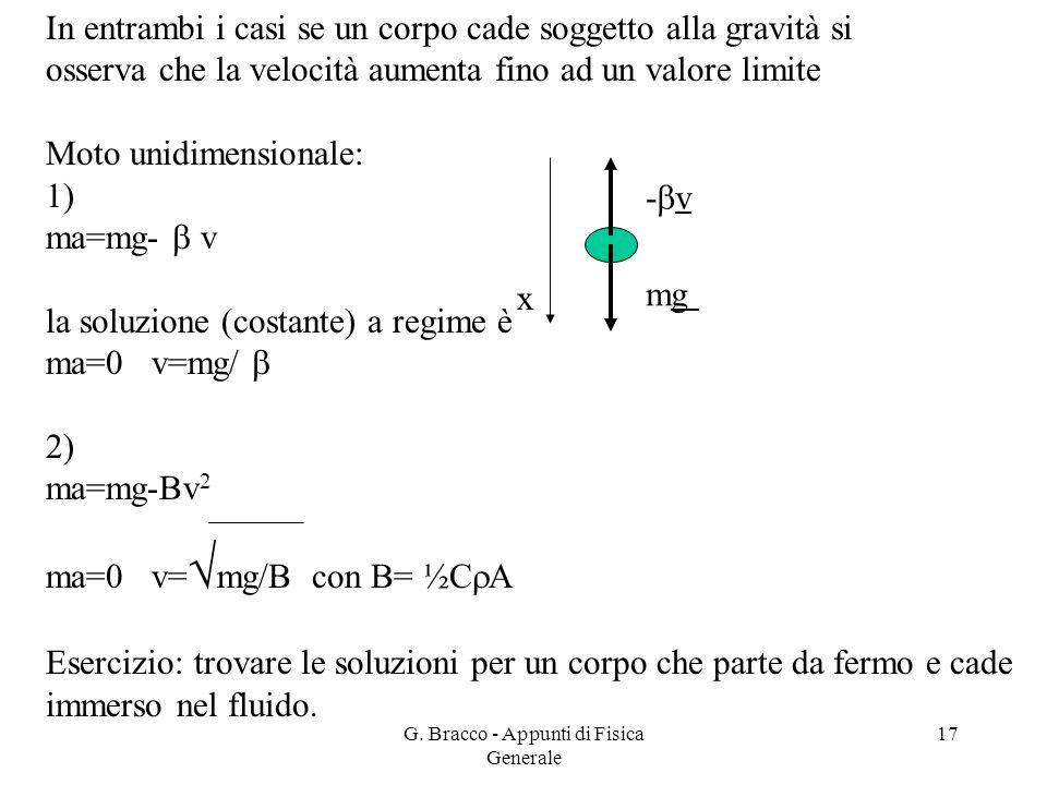 G. Bracco - Appunti di Fisica Generale 17 In entrambi i casi se un corpo cade soggetto alla gravità si osserva che la velocità aumenta fino ad un valo