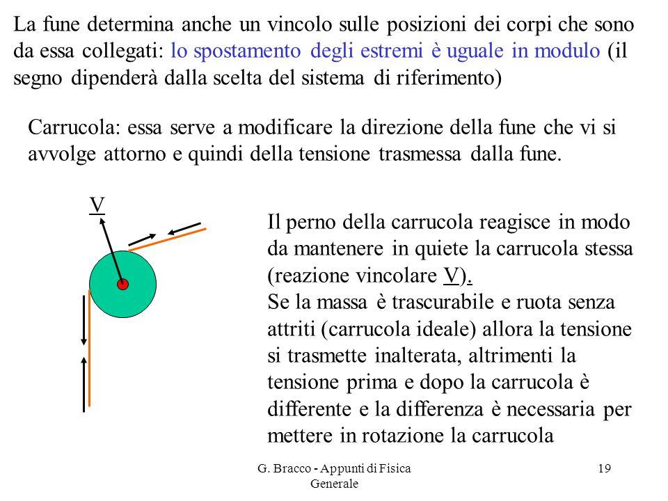 G. Bracco - Appunti di Fisica Generale 19 Carrucola: essa serve a modificare la direzione della fune che vi si avvolge attorno e quindi della tensione