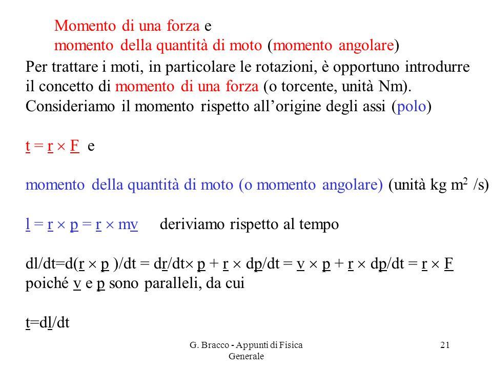 G. Bracco - Appunti di Fisica Generale 21 Momento di una forza e momento della quantità di moto (momento angolare) Per trattare i moti, in particolare