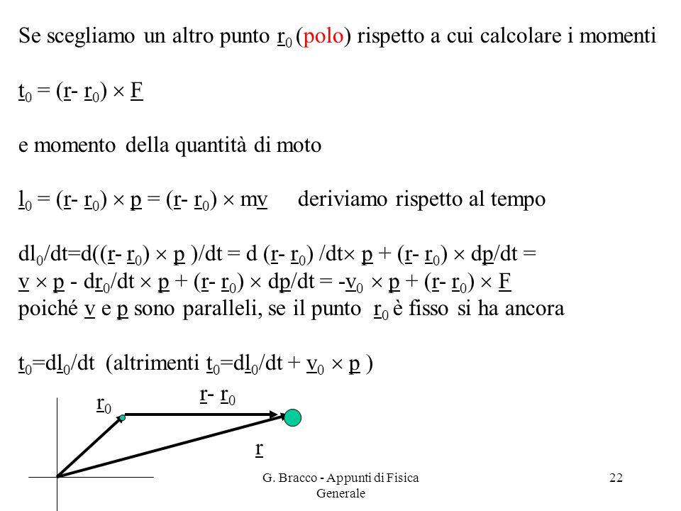 G. Bracco - Appunti di Fisica Generale 22 Se scegliamo un altro punto r 0 (polo) rispetto a cui calcolare i momenti t 0 = (r- r 0 )  F e momento dell