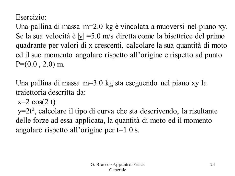 G. Bracco - Appunti di Fisica Generale 24 Esercizio: Una pallina di massa m=2.0 kg è vincolata a muoversi nel piano xy. Se la sua velocità è |v| =5.0