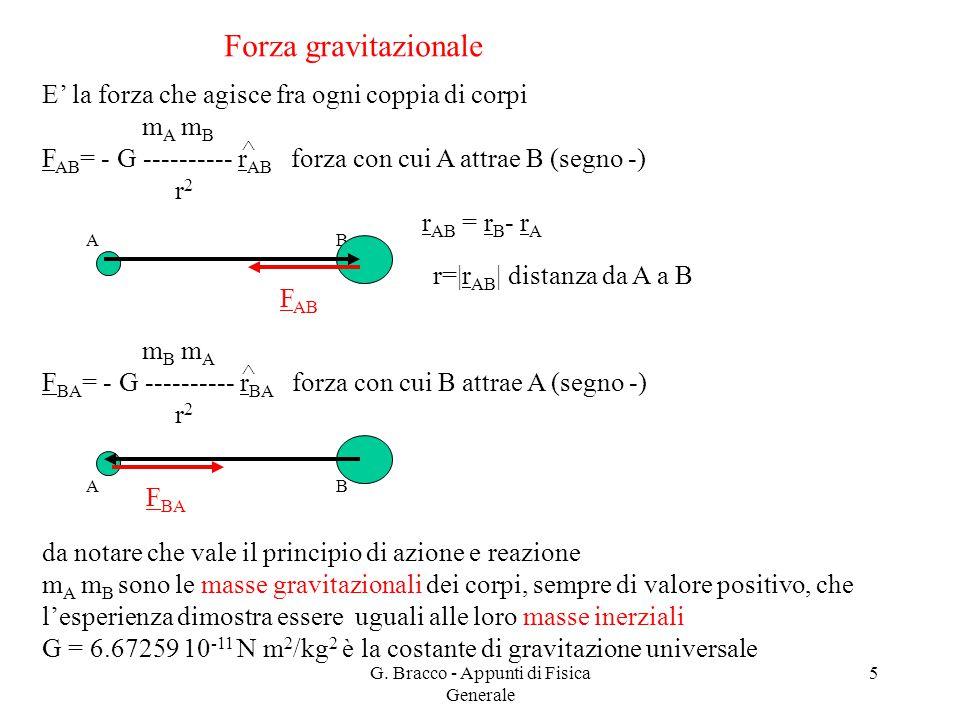 G. Bracco - Appunti di Fisica Generale 5 Forza gravitazionale E' la forza che agisce fra ogni coppia di corpi m A m B F AB = - G ---------- r AB forza