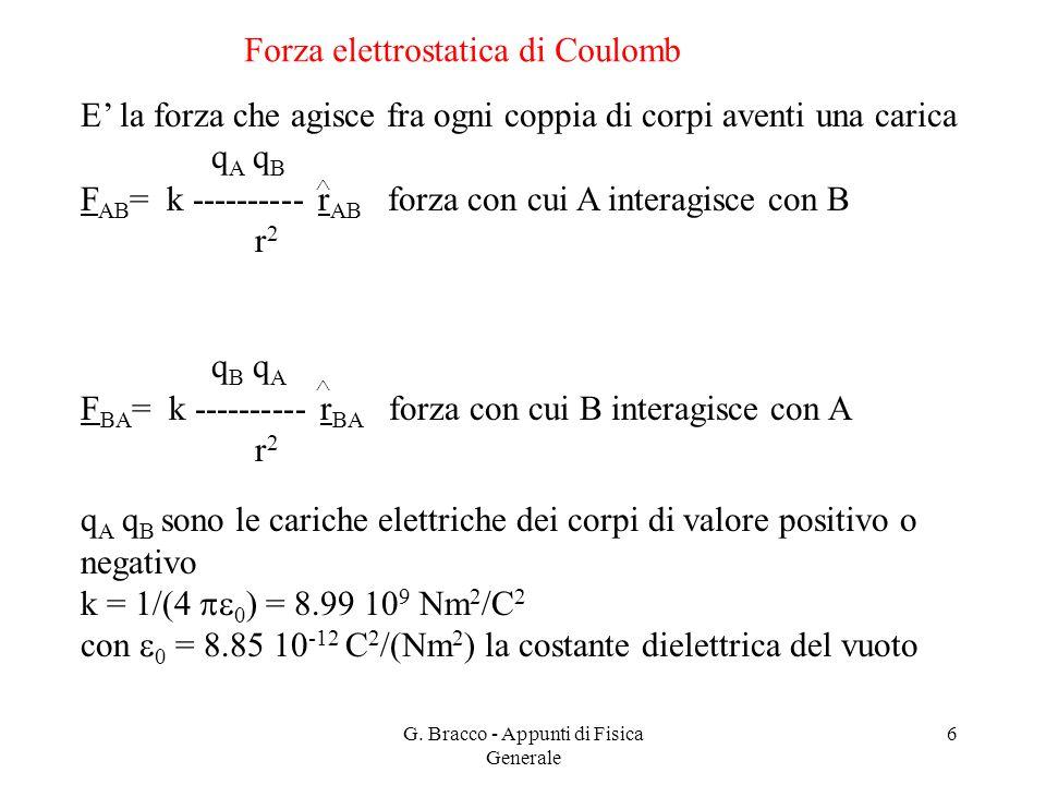 G. Bracco - Appunti di Fisica Generale 6 Forza elettrostatica di Coulomb E' la forza che agisce fra ogni coppia di corpi aventi una carica q A q B F A