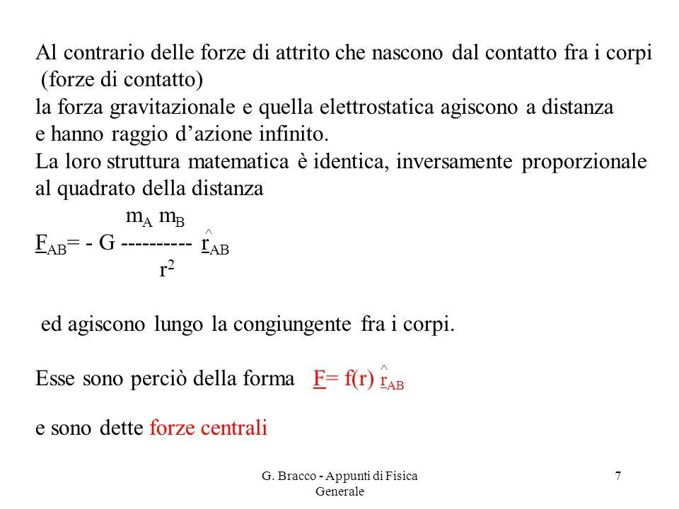 G. Bracco - Appunti di Fisica Generale 7 Al contrario delle forze di attrito che nascono dal contatto fra i corpi (forze di contatto) la forza gravita
