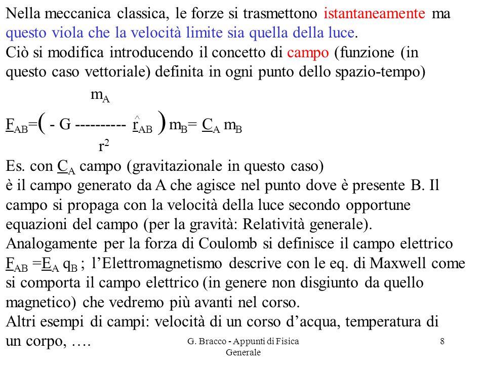 G. Bracco - Appunti di Fisica Generale 8 Nella meccanica classica, le forze si trasmettono istantaneamente ma questo viola che la velocità limite sia