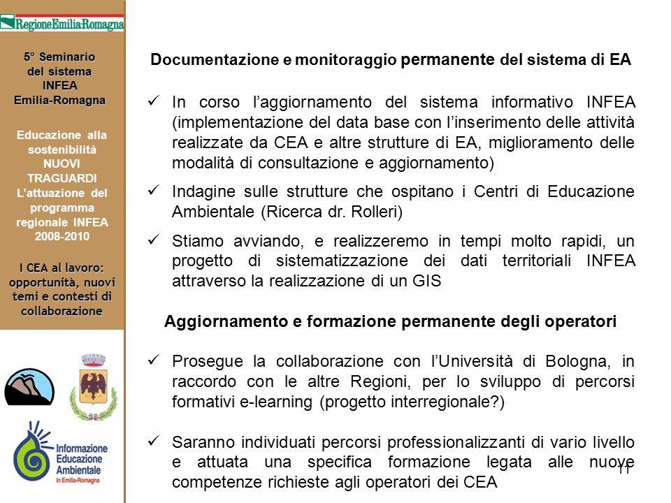 11 I CEA al lavoro: opportunità, nuovi temi e contesti di collaborazione 5° Seminario del sistema INFEA Emilia-Romagna Educazione alla sostenibilità N