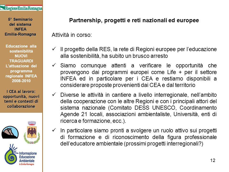 12 I CEA al lavoro: opportunità, nuovi temi e contesti di collaborazione 5° Seminario del sistema INFEA Emilia-Romagna Educazione alla sostenibilità N
