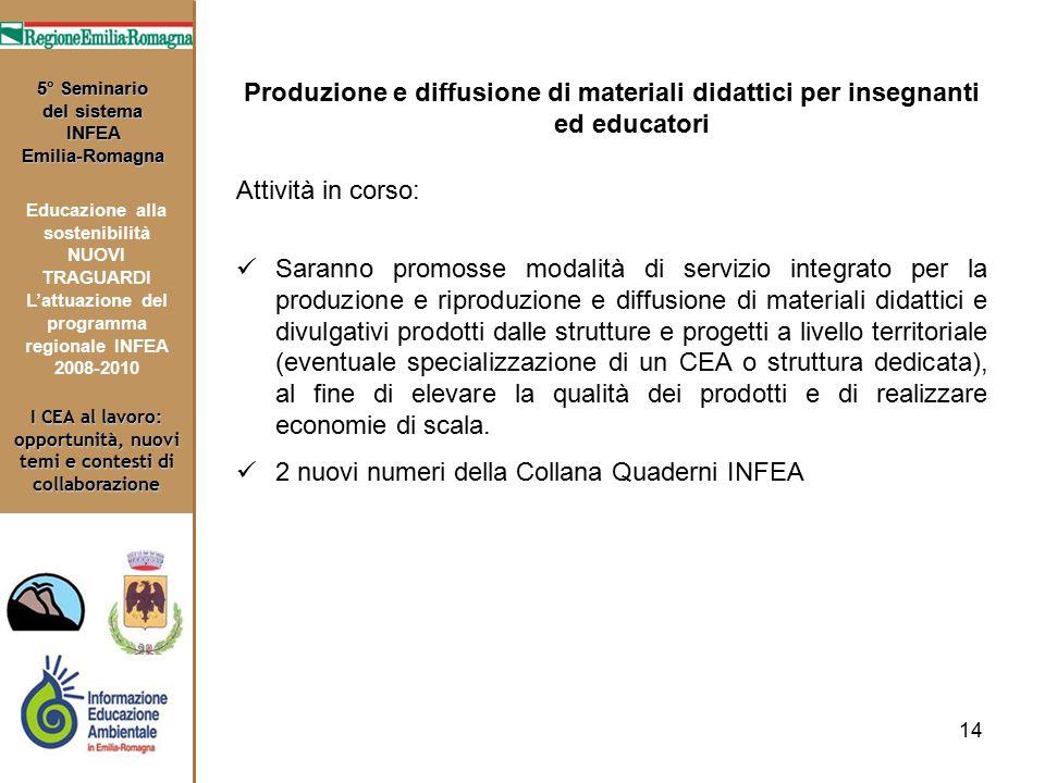 14 I CEA al lavoro: opportunità, nuovi temi e contesti di collaborazione 5° Seminario del sistema INFEA Emilia-Romagna Educazione alla sostenibilità N