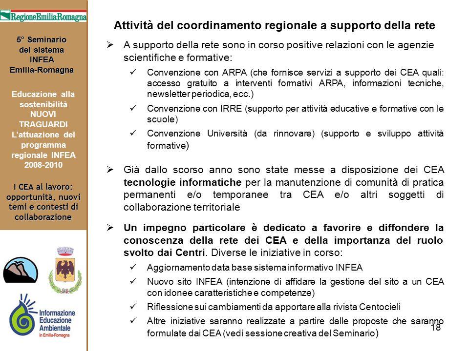 18 I CEA al lavoro: opportunità, nuovi temi e contesti di collaborazione 5° Seminario del sistema INFEA Emilia-Romagna Educazione alla sostenibilità N