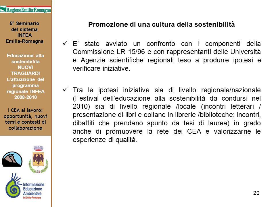 20 I CEA al lavoro: opportunità, nuovi temi e contesti di collaborazione 5° Seminario del sistema INFEA Emilia-Romagna Educazione alla sostenibilità N