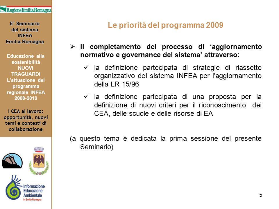 5 I CEA al lavoro: opportunità, nuovi temi e contesti di collaborazione 5° Seminario del sistema INFEA Emilia-Romagna Educazione alla sostenibilità NU
