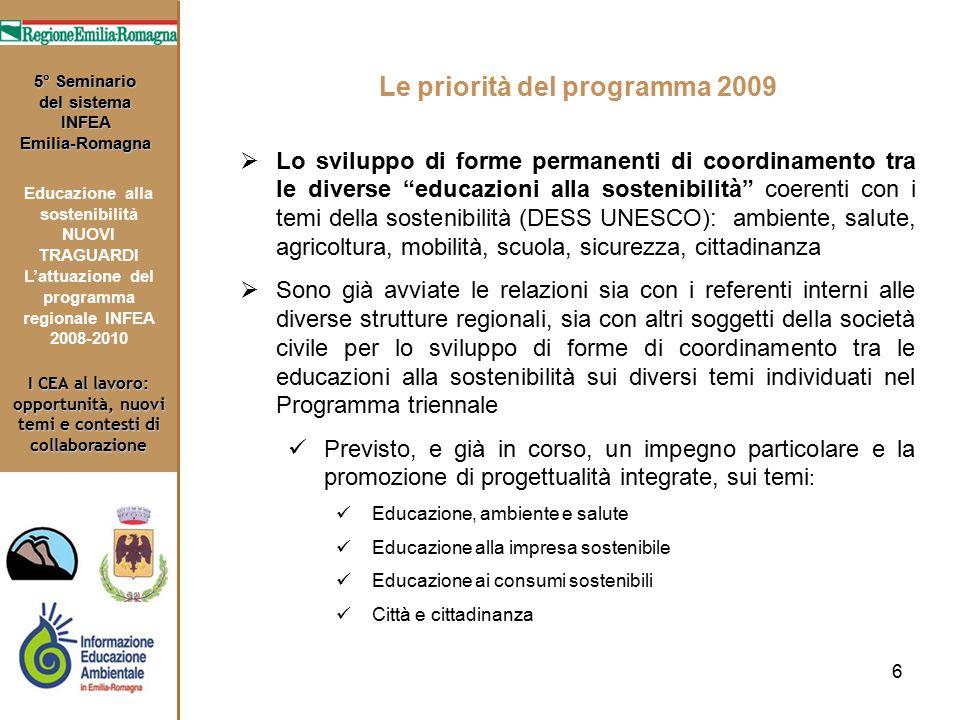 6 I CEA al lavoro: opportunità, nuovi temi e contesti di collaborazione 5° Seminario del sistema INFEA Emilia-Romagna Educazione alla sostenibilità NU
