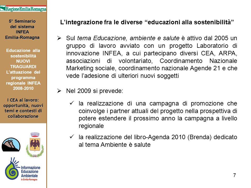 7 I CEA al lavoro: opportunità, nuovi temi e contesti di collaborazione 5° Seminario del sistema INFEA Emilia-Romagna Educazione alla sostenibilità NU