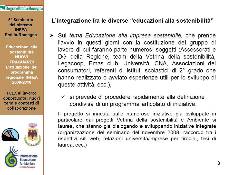 8 I CEA al lavoro: opportunità, nuovi temi e contesti di collaborazione 5° Seminario del sistema INFEA Emilia-Romagna Educazione alla sostenibilità NU