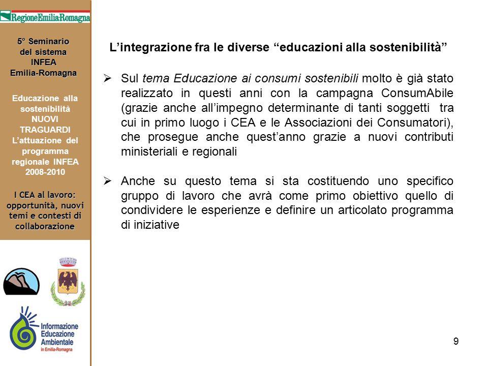 9 I CEA al lavoro: opportunità, nuovi temi e contesti di collaborazione 5° Seminario del sistema INFEA Emilia-Romagna Educazione alla sostenibilità NU