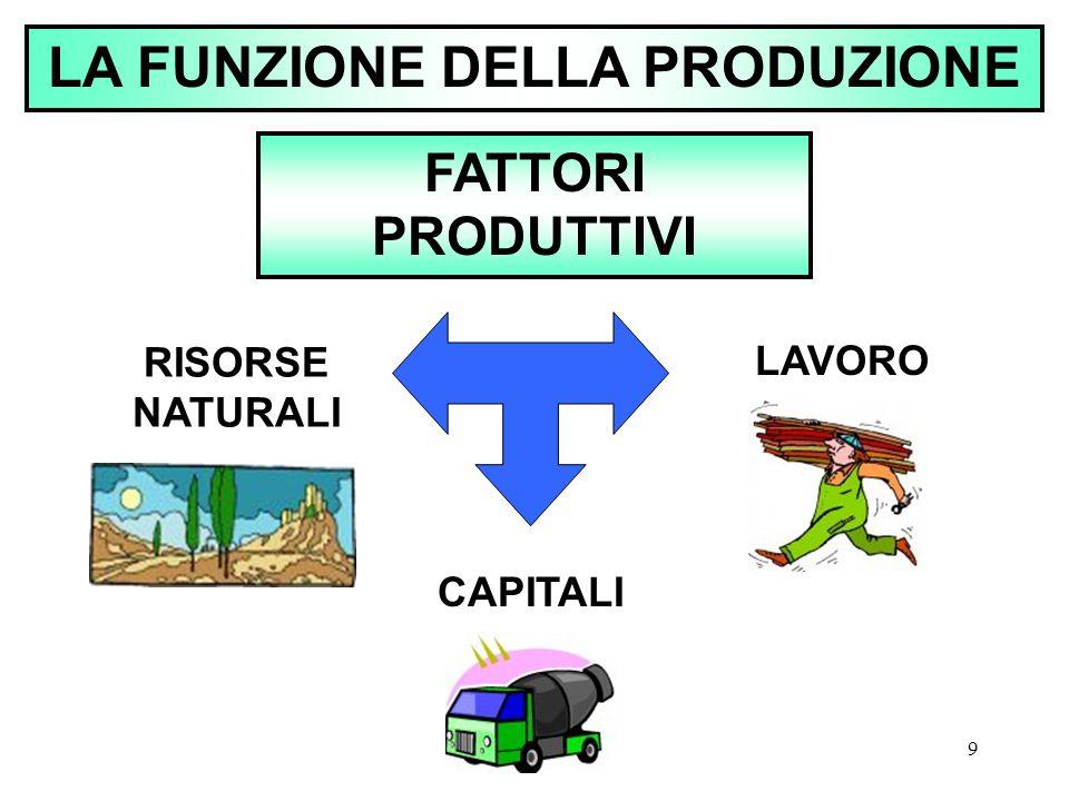 9 LA FUNZIONE DELLA PRODUZIONE FATTORI PRODUTTIVI RISORSE NATURALI CAPITALI LAVORO
