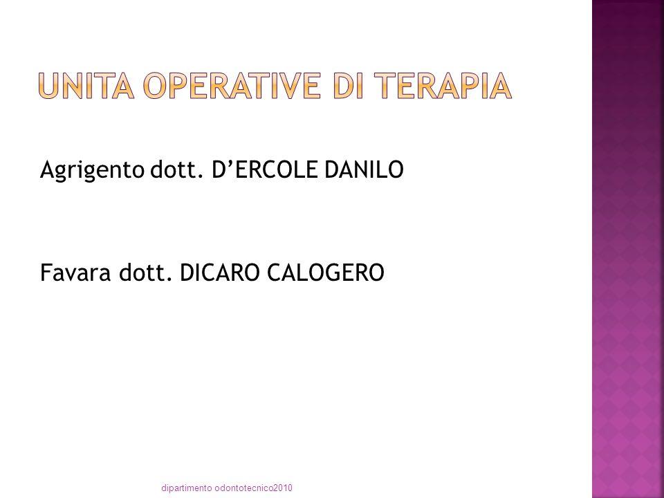 Agrigento dott. D'ERCOLE DANILO Favara dott. DICARO CALOGERO dipartimento odontotecnico2010