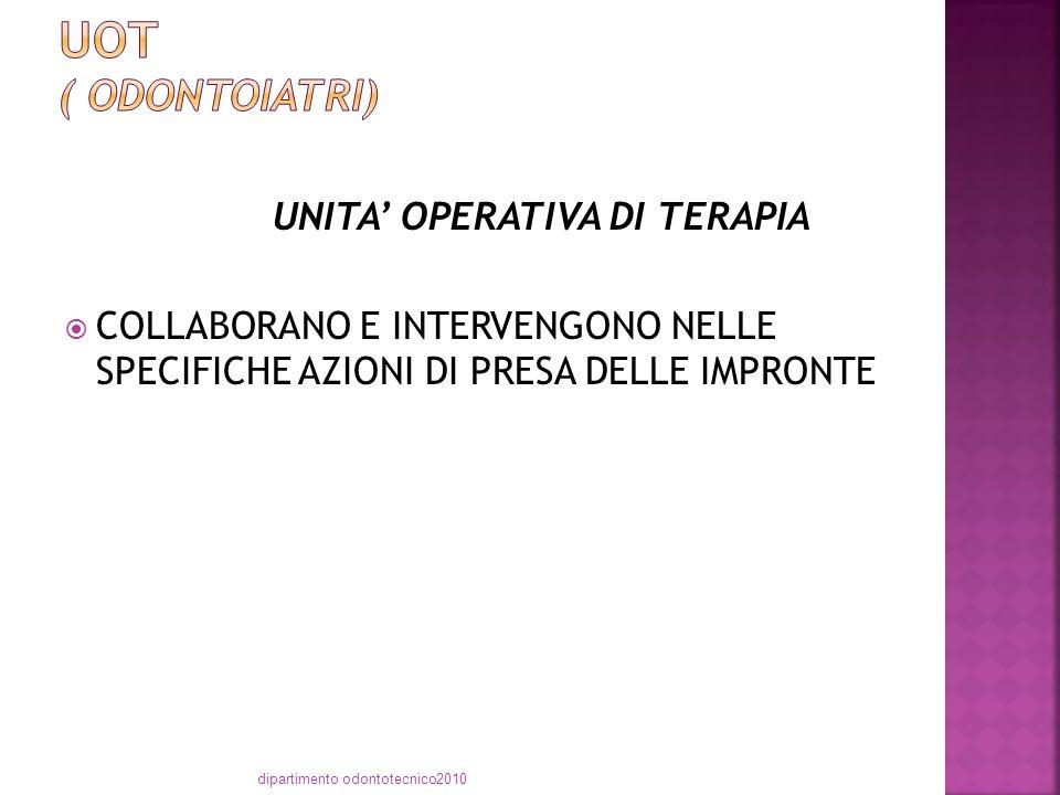 UNITA' OPERATIVA DI TERAPIA  COLLABORANO E INTERVENGONO NELLE SPECIFICHE AZIONI DI PRESA DELLE IMPRONTE dipartimento odontotecnico2010