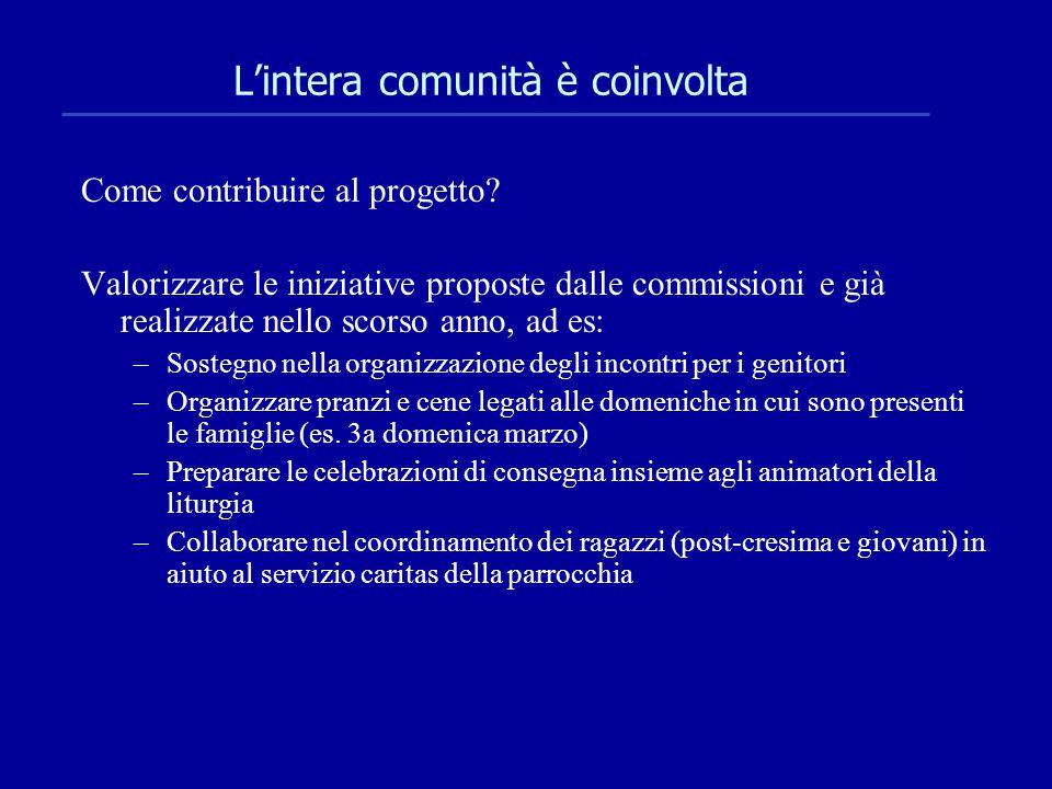 L'intera comunità è coinvolta Come contribuire al progetto? Valorizzare le iniziative proposte dalle commissioni e già realizzate nello scorso anno, a