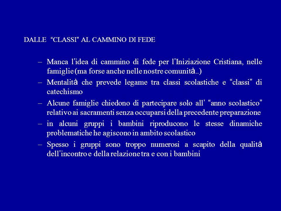 """DALLE """" CLASSI """" AL CAMMINO DI FEDE –Manca l ' idea di cammino di fede per l ' Iniziazione Cristiana, nelle famiglie (ma forse anche nelle nostre comu"""