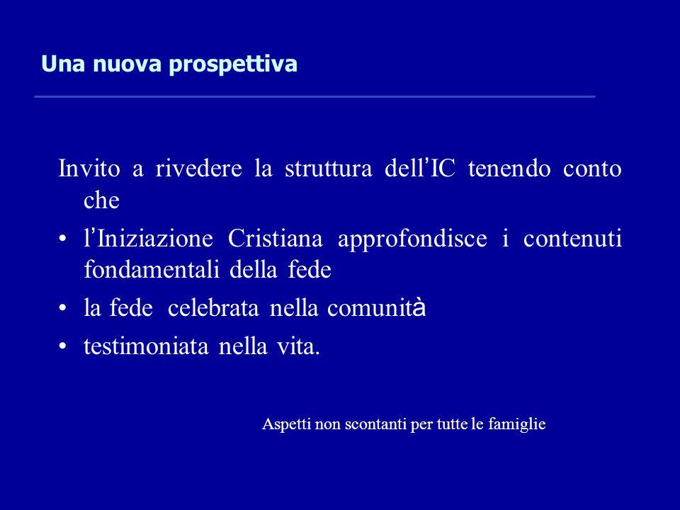 Una nuova prospettiva Invito a rivedere la struttura dell ' IC tenendo conto che l ' Iniziazione Cristiana approfondisce i contenuti fondamentali dell