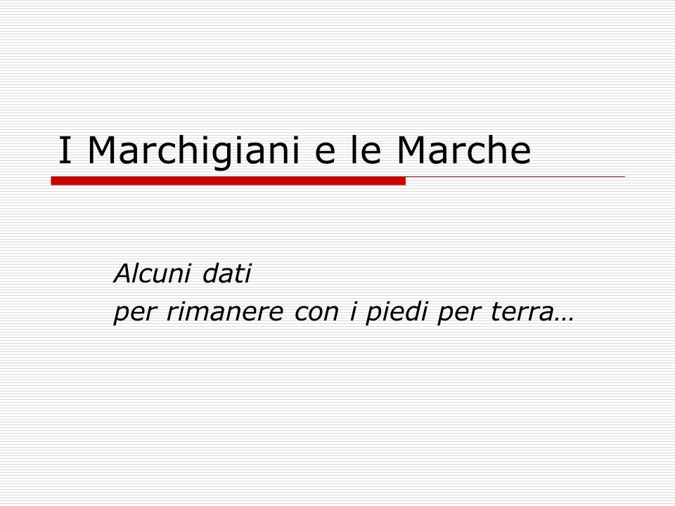 I Marchigiani e le Marche Alcuni dati per rimanere con i piedi per terra…