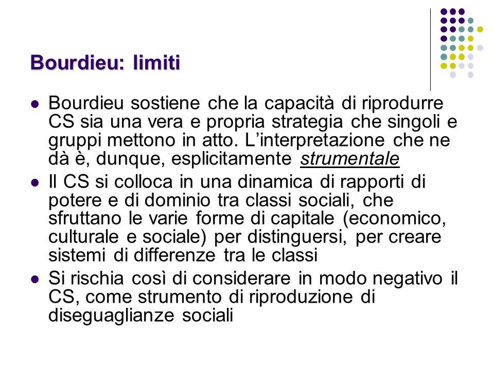 Bourdieu: limiti Bourdieu sostiene che la capacità di riprodurre CS sia una vera e propria strategia che singoli e gruppi mettono in atto.