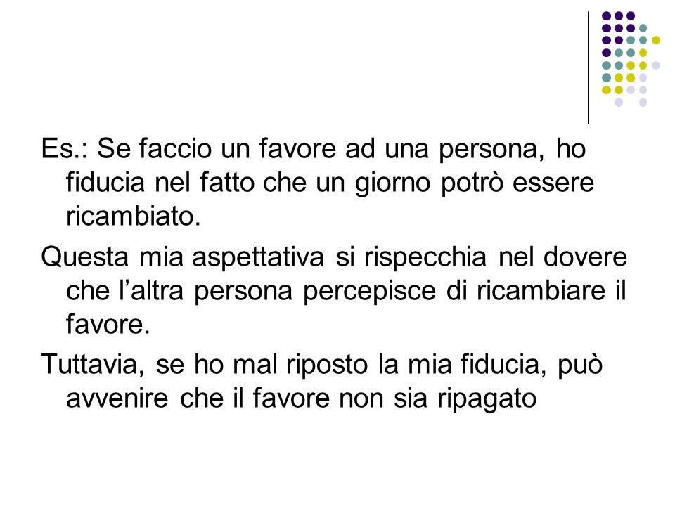 Es.: Se faccio un favore ad una persona, ho fiducia nel fatto che un giorno potrò essere ricambiato.
