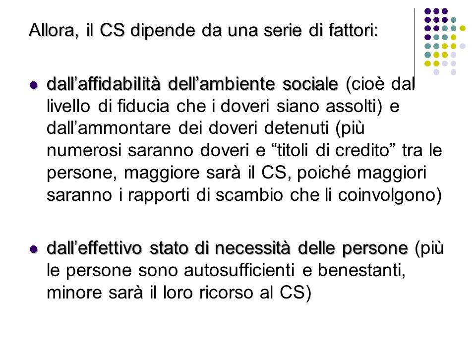 Allora, il CS dipende da una serie di fattori: dall'affidabilità dell'ambiente sociale dall'affidabilità dell'ambiente sociale (cioè dal livello di fi