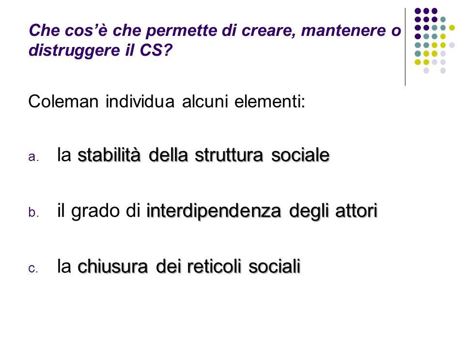 Che cos'è che permette di creare, mantenere o distruggere il CS? Coleman individua alcuni elementi: stabilità della struttura sociale a. la stabilità