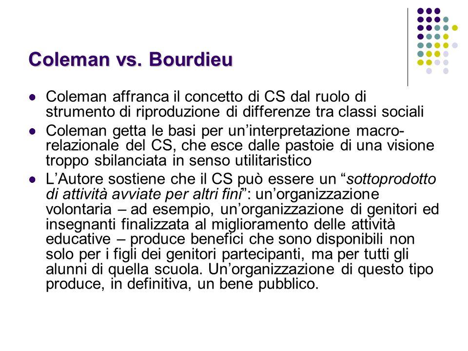 Coleman vs. Bourdieu Coleman affranca il concetto di CS dal ruolo di strumento di riproduzione di differenze tra classi sociali Coleman getta le basi