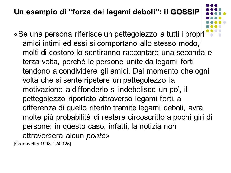 """GOSSIP Un esempio di """"forza dei legami deboli"""": il GOSSIP «Se una persona riferisce un pettegolezzo a tutti i propri amici intimi ed essi si comportan"""