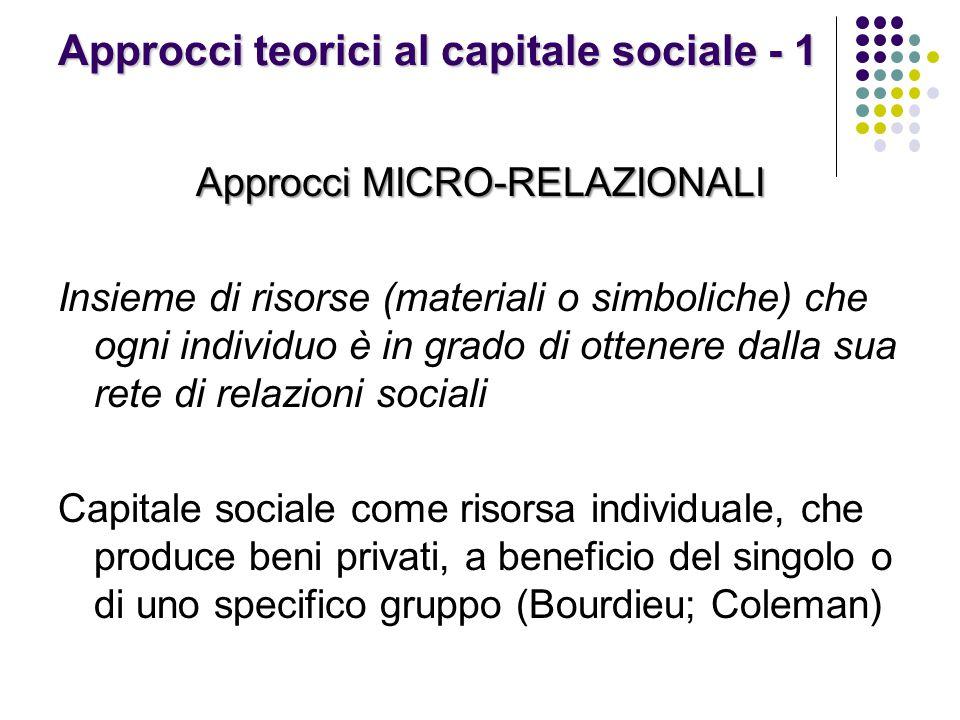 Approcci teorici al capitale sociale - 1 Approcci MICRO-RELAZIONALI Insieme di risorse (materiali o simboliche) che ogni individuo è in grado di ottenere dalla sua rete di relazioni sociali Capitale sociale come risorsa individuale, che produce beni privati, a beneficio del singolo o di uno specifico gruppo (Bourdieu; Coleman)