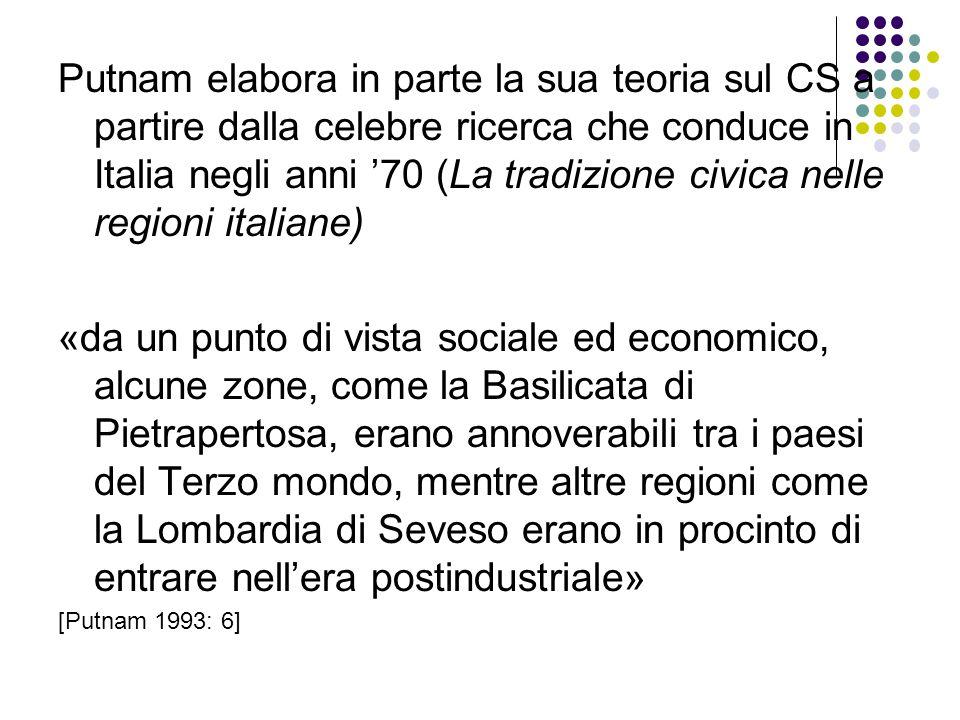 Putnam elabora in parte la sua teoria sul CS a partire dalla celebre ricerca che conduce in Italia negli anni '70 (La tradizione civica nelle regioni