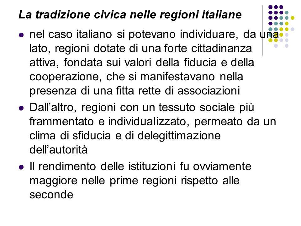 La tradizione civica nelle regioni italiane nel caso italiano si potevano individuare, da una lato, regioni dotate di una forte cittadinanza attiva, f
