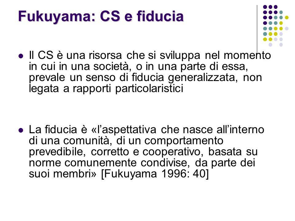 Fukuyama: CS e fiducia Il CS è una risorsa che si sviluppa nel momento in cui in una società, o in una parte di essa, prevale un senso di fiducia generalizzata, non legata a rapporti particolaristici La fiducia è «l'aspettativa che nasce all'interno di una comunità, di un comportamento prevedibile, corretto e cooperativo, basata su norme comunemente condivise, da parte dei suoi membri» [Fukuyama 1996: 40]