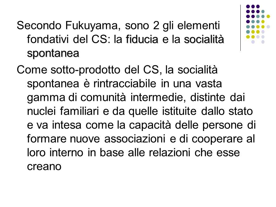 fiduciasocialità spontanea Secondo Fukuyama, sono 2 gli elementi fondativi del CS: la fiducia e la socialità spontanea Come sotto-prodotto del CS, la