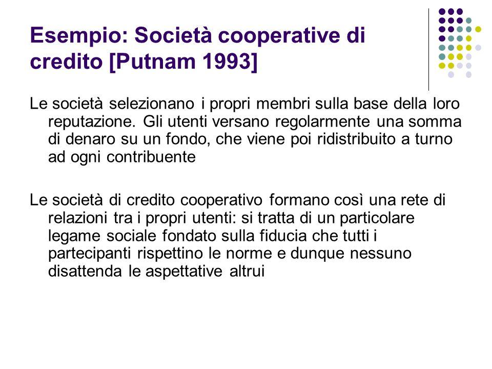 Esempio: Società cooperative di credito [Putnam 1993] Le società selezionano i propri membri sulla base della loro reputazione. Gli utenti versano reg