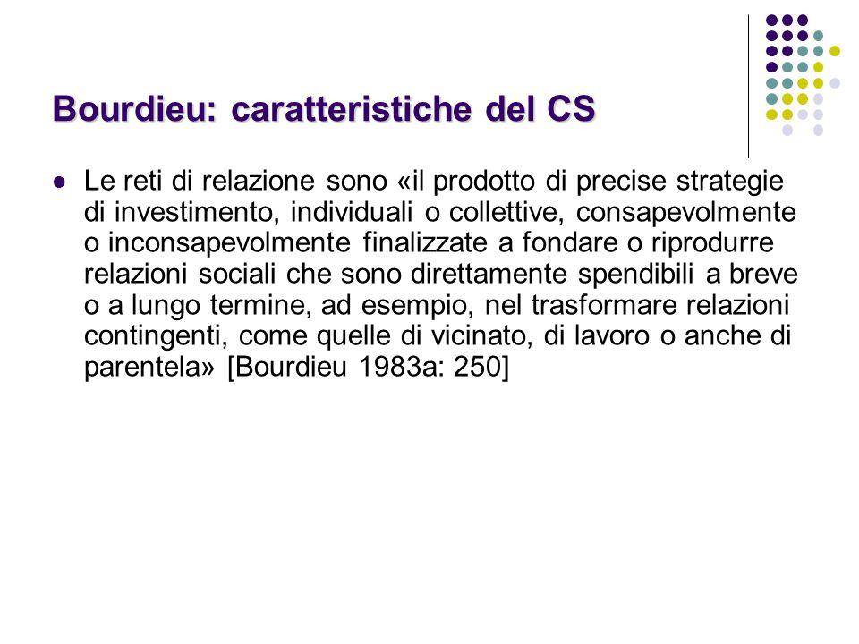 Bourdieu: caratteristiche del CS L'appartenenza ad una rete o ad un gruppo sociale crea dei benefici per i membri e sviluppa così un senso di solidarietà che permette alla rete o al gruppo stesso di esistere