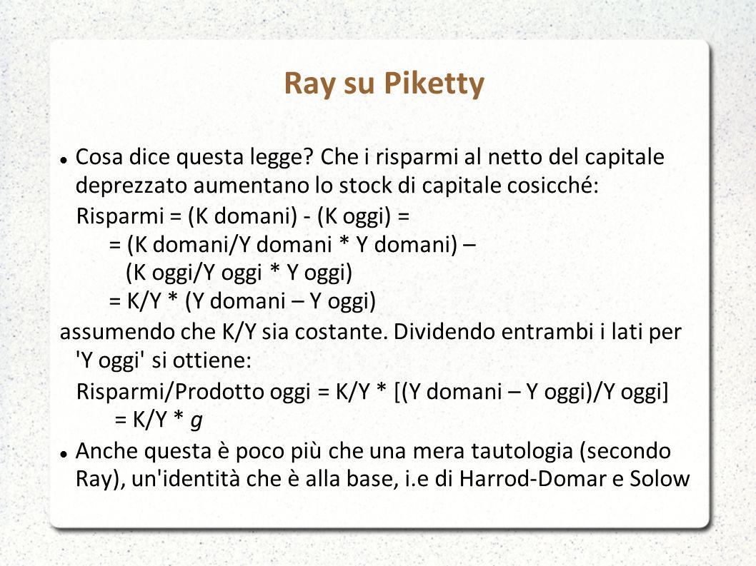 Ray su Piketty Cosa dice questa legge.