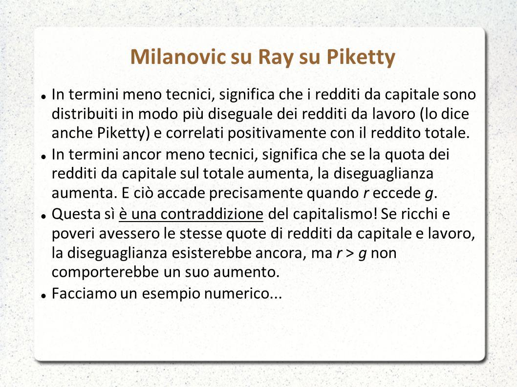 Milanovic su Ray su Piketty In termini meno tecnici, significa che i redditi da capitale sono distribuiti in modo più diseguale dei redditi da lavoro (lo dice anche Piketty) e correlati positivamente con il reddito totale.