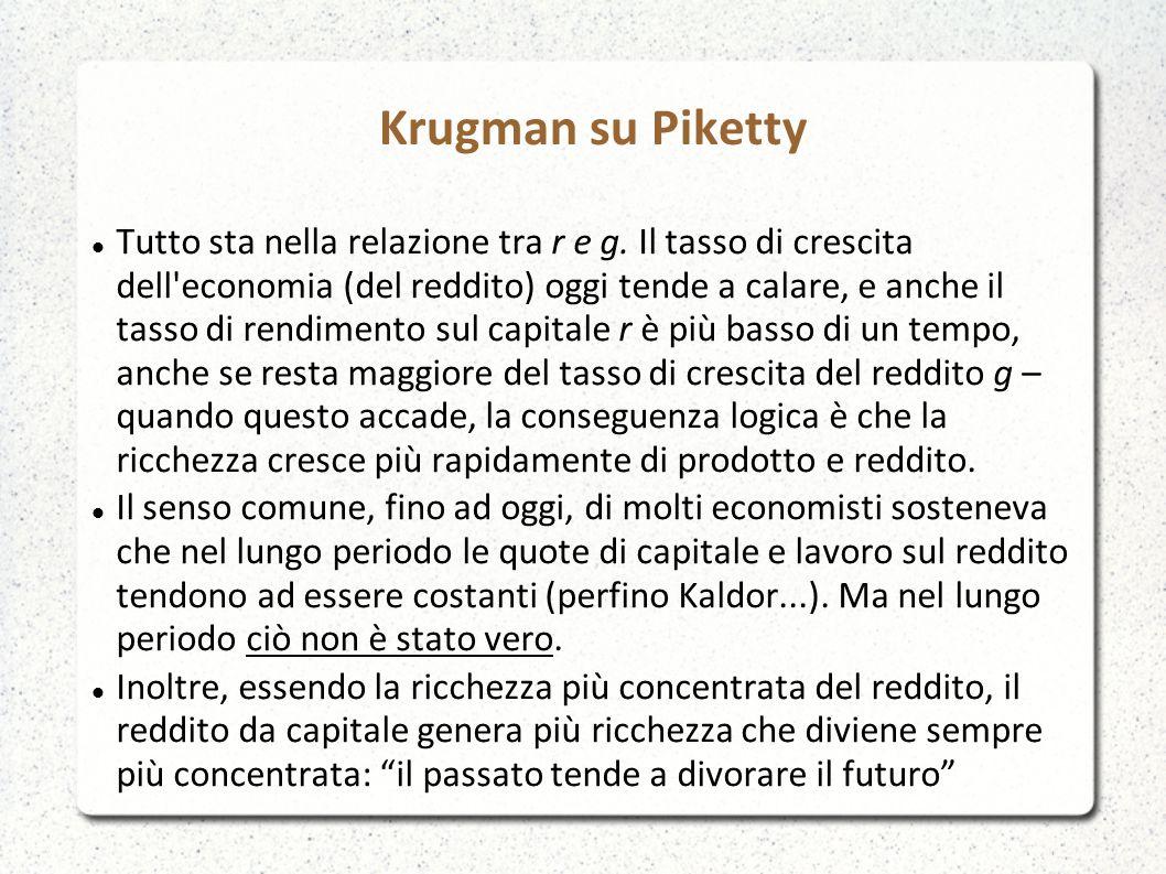 Krugman su Piketty Tutto sta nella relazione tra r e g.