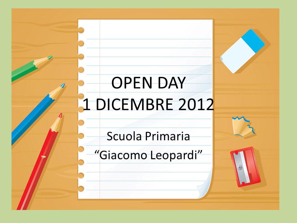 OPEN DAY 1 DICEMBRE 2012 Scuola Primaria Giacomo Leopardi