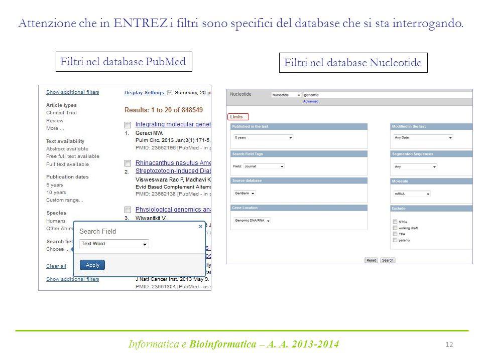 Informatica e Bioinformatica – A. A. 2013-2014 12 Attenzione che in ENTREZ i filtri sono specifici del database che si sta interrogando. Filtri nel da