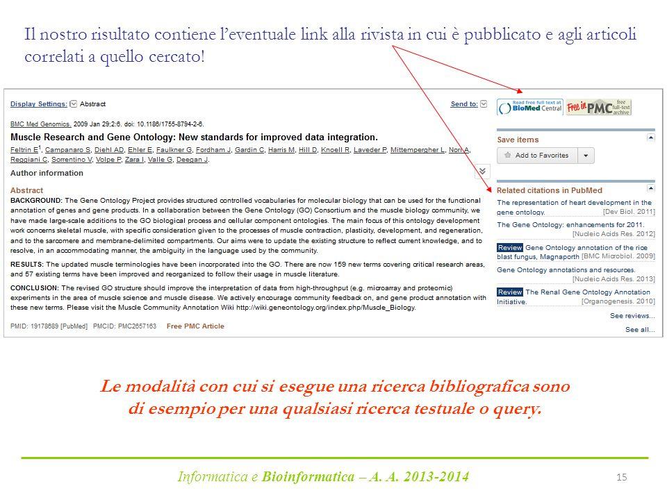 Informatica e Bioinformatica – A. A. 2013-2014 15 Il nostro risultato contiene l'eventuale link alla rivista in cui è pubblicato e agli articoli corre