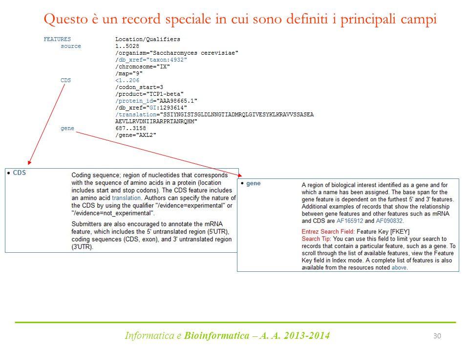Informatica e Bioinformatica – A. A. 2013-2014 30 Questo è un record speciale in cui sono definiti i principali campi