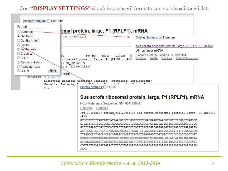 """Informatica e Bioinformatica – A. A. 2013-2014 32 Con """"DISPLAY SETTINGS"""" si può impostare il formato con cui visualizzare i dati"""