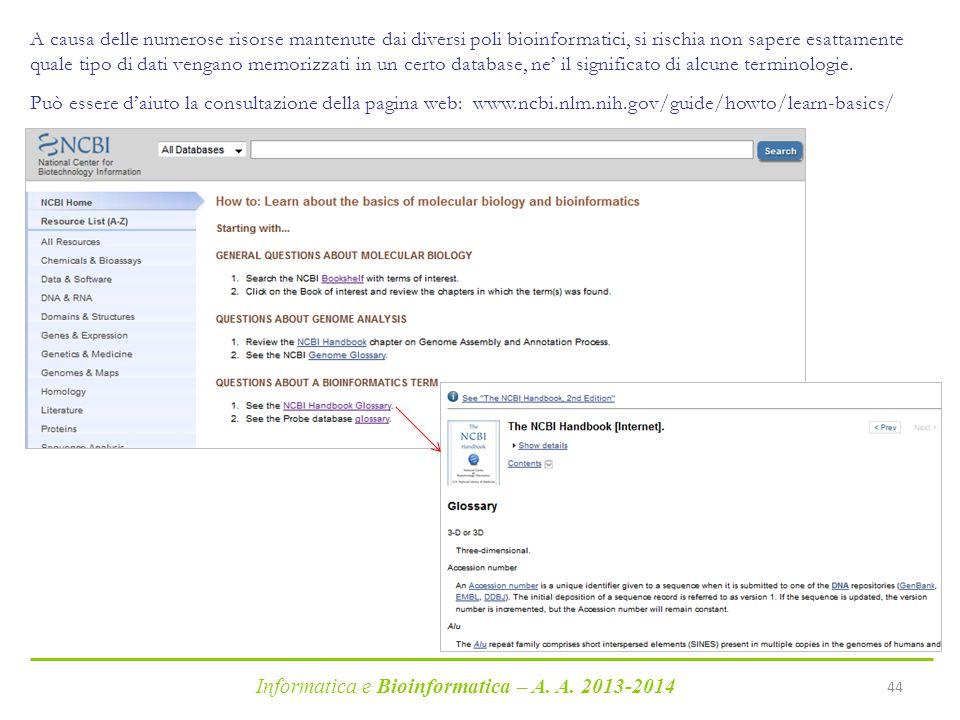 Informatica e Bioinformatica – A. A. 2013-2014 44 A causa delle numerose risorse mantenute dai diversi poli bioinformatici, si rischia non sapere esat