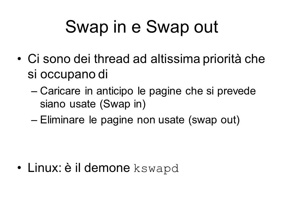 Swap in e Swap out Ci sono dei thread ad altissima priorità che si occupano di –Caricare in anticipo le pagine che si prevede siano usate (Swap in) –Eliminare le pagine non usate (swap out) Linux: è il demone kswapd