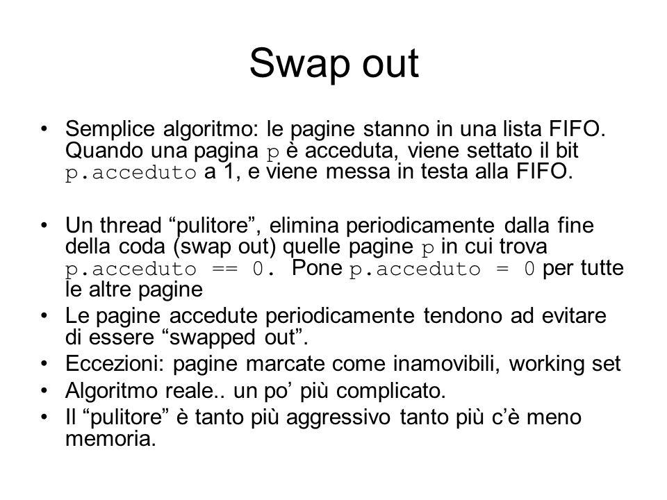 Swap out Semplice algoritmo: le pagine stanno in una lista FIFO. Quando una pagina p è acceduta, viene settato il bit p.acceduto a 1, e viene messa in